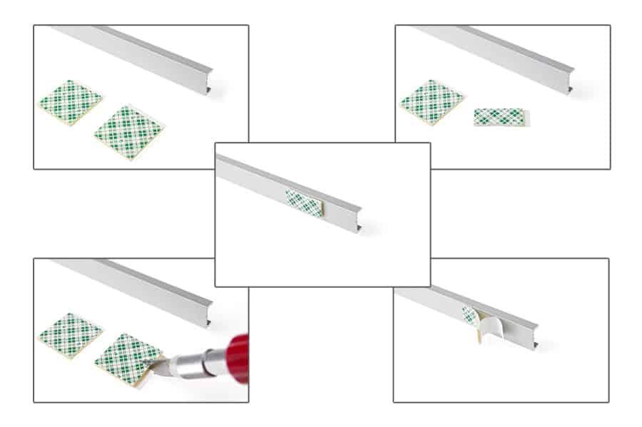 Aplicar cinta adhesiva de doble cara en la parte posterior